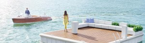 Waterscape by Superior shot of pontoon and girl with champagne