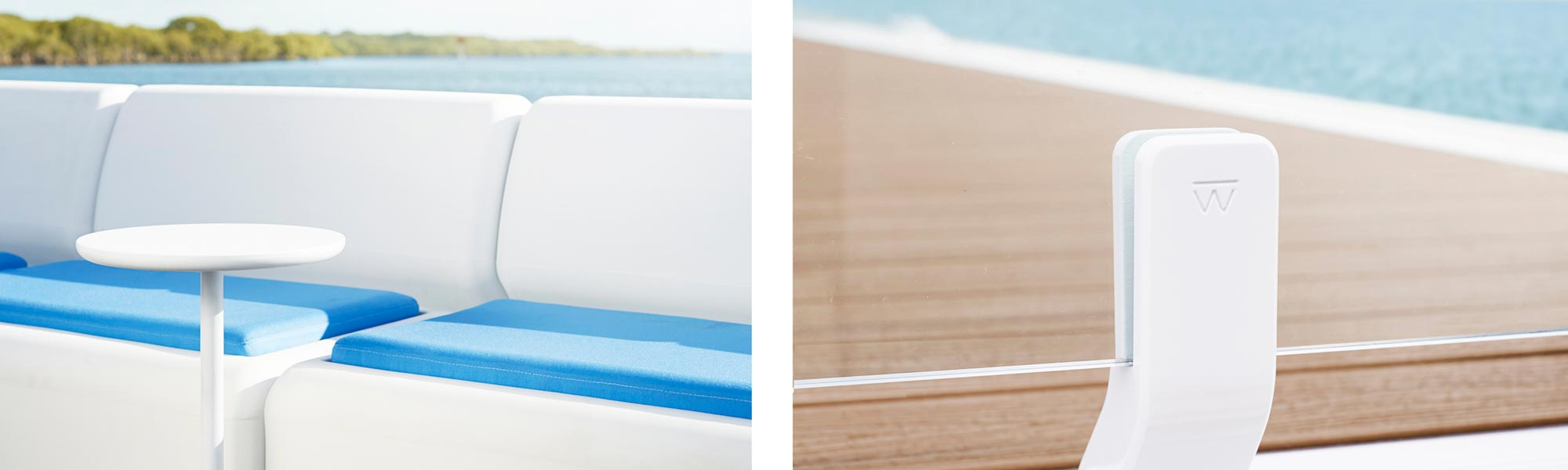 Waterscape by Superior detail shot of side table and glass balustrade